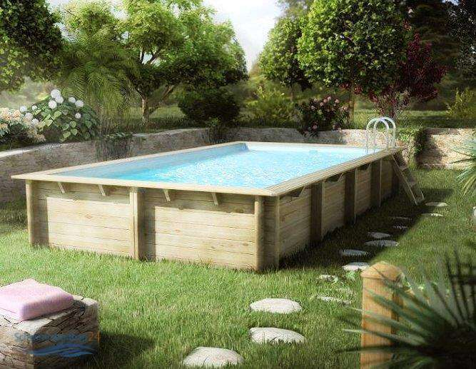 Holzschwimmbecken holzpool weva for Piscine en bois rectangulaire