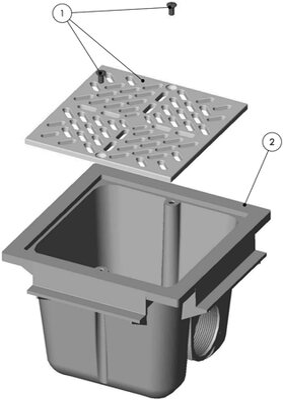 fluidra abs bodenablauf rechteckig 210 x 210mm f r beton fliesenbeck schwimmbadbau24. Black Bedroom Furniture Sets. Home Design Ideas