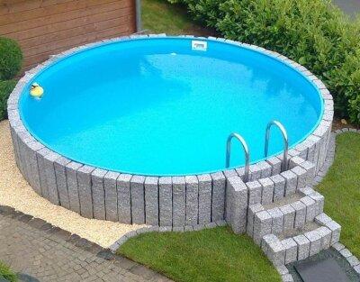 Stahlwandpool teilversenkt  Sunny Pool Rund-Schwimmbecken Höhe 1,50 m - Schwimmbadbau, Pool ...